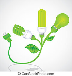 ecological plant bulb with plug, vector illustration