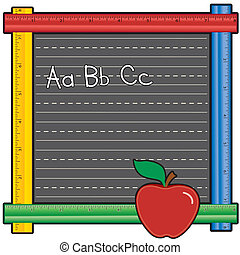 Ruler Blackboard, ABCs, Apple - Blackboard with multicolor...