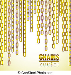 gold link chain dangling, vector illustration