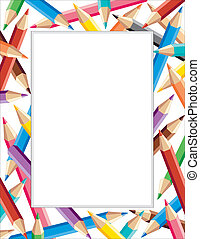 Colored Pencils Frame - Colored pencils frame, multicolor...