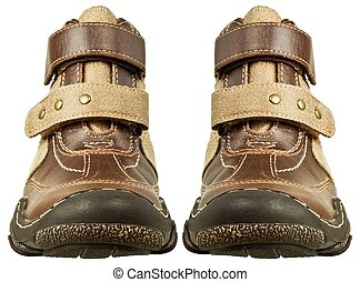 Leather boots - Children's leather boots isolated on white...