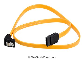 Serial ATA cable - Yellow computer sata cable for connect...