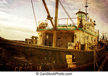 Vintage fishing trawler in the harbor - Old vintage fishing...