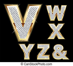 Set Diamond Gold Letters V-Z