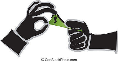 Silhouetted Hands Exchanging Money - simple drawing of...