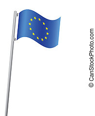 European Union flag on flagpole vector illustration