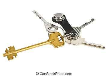 Bunch of keys with electronic key isolated on white...