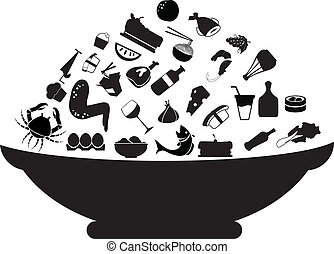 food silhouettes concept for food stuff, restaurant, and...