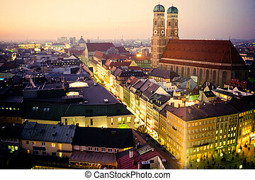 Church of our Dear Lady in Munich at dusk - Cathedral of Our...
