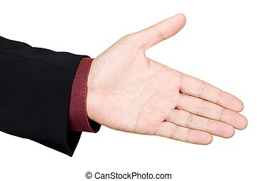 Business handshake and trust - Open hand ready to seal a...