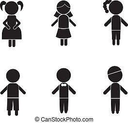 boy girl stick silhouettes for kids, icons, concept and...