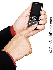 Businessman's hand holding a cell phone - isolated on white...