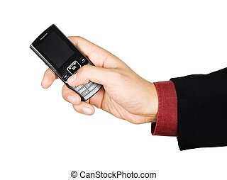 Businessmans hand holding a cell phone - isolated on white...