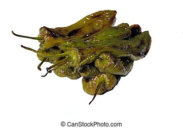 Fried Italian pointed peppers. - Fried Italian pointed...