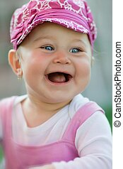 Portrait of happy baby laughing - Portrait of a little cute...
