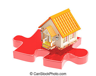 3d house and part of a puzzle
