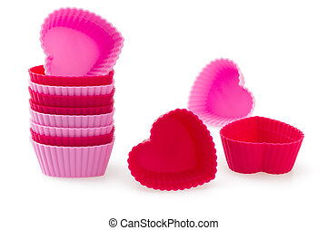 Red and pink Heart Shaped Silicon Bun Cases