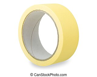 Adhesive tape - Roll of yellow adhesive tape isolated on...