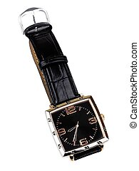 Wrist Watch - Wrist watch with leather wristlet isolated on...