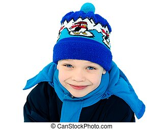 Cute boy dressed in winter clothes