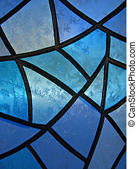 Stained glass with ice flowers - Seasonal Background with...