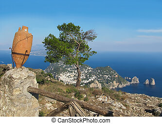 Island Capri view from the highest point Monte Solaro -...