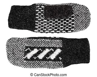 Mittens - Black and white woolen mittens isolated on white...