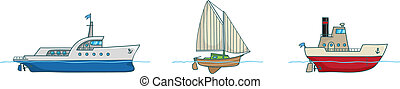 Cartoon collection.Three ships - Three different ships:...