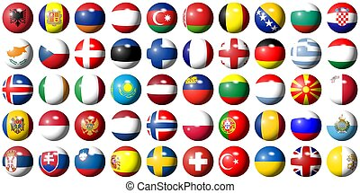 flags of Europe - complete collection of all European flags...