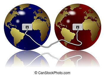 Ethernet connection - two earth globes connected with an...