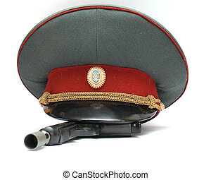 officer's cap - Ukrainian officer's cap and a pistol with a...