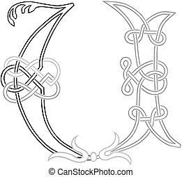 Celtic Knot-work U - A Celtic Knot-work Capital Letter U...