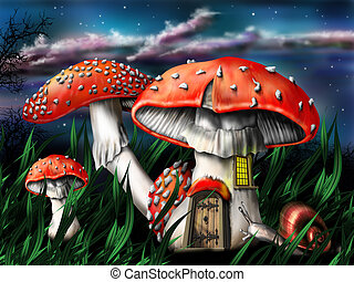 Magic mushrooms - Illustration of enchanted magical...