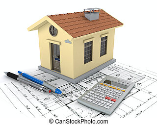 Planning home: blueprint, pencil and calculator. 3D...