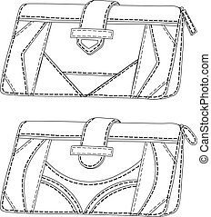Leather wallets, outline