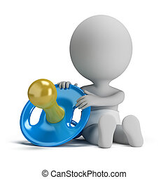 3d small people - child and the pacifier - 3d small person -...