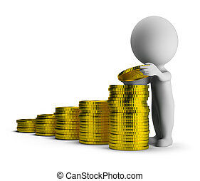 3d small people - financial success - 3d small person puts...