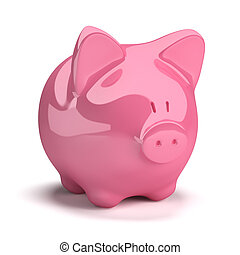 moneybox in the form of a pig. 3d image. Isolated white...
