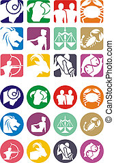 Horoscope zodiac illustration - Horoscope symbols in 2D...