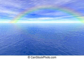 regnbåge, ovanför, hav