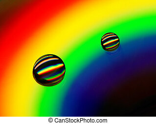 Rainbow - Drops of water on a compact disc