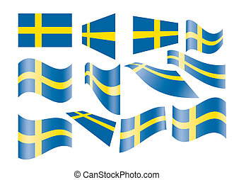 set of Swedish flags vector illustration