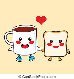Chocolate and Toast - Funny cartoon character couple...