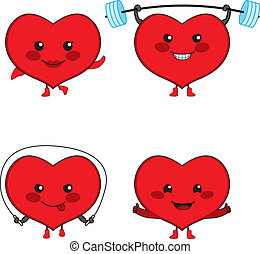Heart Sport - Collection of four cute heart cartoon...