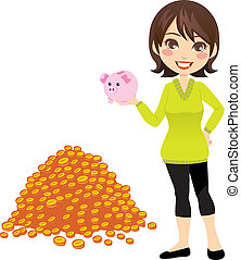 Woman Holding Piggybank - Woman holding piggybank in her...