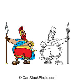 Fat Roman cartoon - Cartoon drawing of a fat roman soldier...