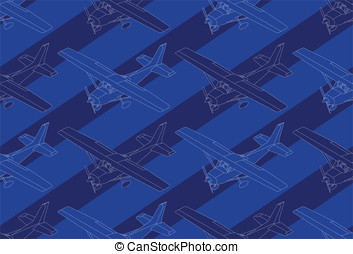 isometric pattern whit plane - Detailed illustration of a...