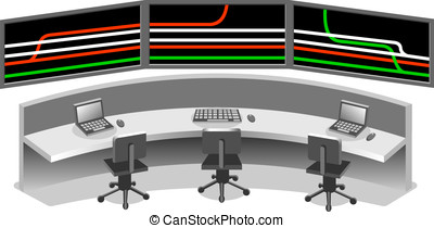 isometric Control center - Detailed illustration of a...