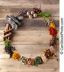 Beauty of spices and herbs - Beautiful circle of colorful...