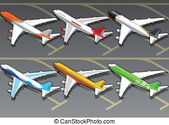 Isometric airplanes in six livery. This illustration is...